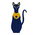 statue cat egypt - goddess bastet egyptian idols vector image
