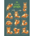 Sticker set of cartoon funny foxes doing yoga vector image