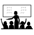 Teacher at blackboard in the classroom with vector image vector image