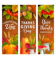 thanksgiving day banners autumn harvest holiday vector image vector image
