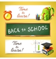 Time to learn horizontal banners vector image vector image