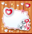 valentine card with heart and lovely cats vector image vector image