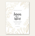 wedding invitation with golden flowers vector image vector image