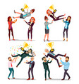 winner business people set man woman vector image