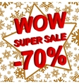 Winter sale poster with WOW SUPER SALE MINUS 70 vector image vector image