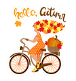 young autumn woman with hair from leaves rides a vector image vector image