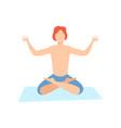 young man meditating guy practicing yoga vector image