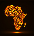 abstract map of africa with glowing particles vector image vector image
