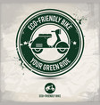 alternative eco friendly bike stamp vector image vector image