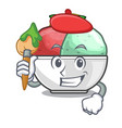 artist sorbet ice cream in cup cartoon vector image