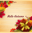 autumn leaves gift box with ribbon and bow vector image