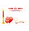Be my Valentine border red hearts couple retro vector image