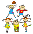 boys and girls playing outdoors vector image vector image
