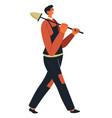 builder in uniform walking with shovel in hands vector image vector image
