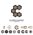 c letter caliber and chamber concepts symbol set vector image