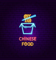 chinese food neon label vector image vector image
