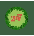 Christmas Round Banner with Fir Branches vector image vector image