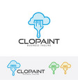 cloud paint logo design vector image vector image
