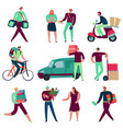 delivery service workers set vector image