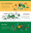 digital eco transport icons set vector image