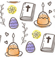 easter pattern with eggs cake and bible vector image vector image