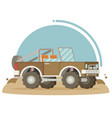 flat design of car in motion on a safari trip vector image vector image