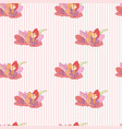 flowers on a striped background seamless pattern vector image vector image