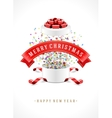 Gift box and with red bow ribbon background vector image