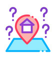 gps mark with house icon outline vector image vector image