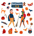 halloween accessories flat set vector image