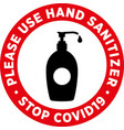 hand sanitizer signage or floor sticker vector image vector image