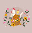 happy easter card with chicken family and flowers vector image vector image