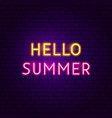 hello summer text neon label vector image vector image