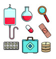 hospital and medical center icons vector image vector image