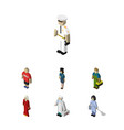 Isometric person set of policewoman plumber vector image