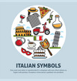 italy travel symbols and landmarks poster vector image vector image