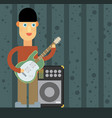 kid playing electric guitar vector image vector image
