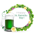 Leprechaun green beer with coins and clover vector image