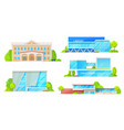 library modern buildings isolated facade exteriors vector image