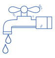line clean metal faucet with water drops vector image