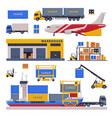 logistic and delivery set warehouse storage vector image