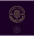 logo gold tulip flower studio emblem vector image vector image