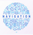 navigation and direction concept in circle vector image