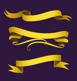 realistic gold ribbons tape flag banner elegance vector image vector image