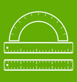 ruler and protractor icon green vector image vector image