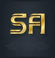 s and a initial golden logo sa - metallic 3d icon vector image vector image