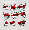 set cartoon comic text white cloud vector image vector image