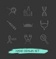 set medicine icons line style symbols
