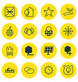 set of 16 ecology icons includes cigarette sun vector image vector image