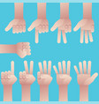 set of hands counting zero to nine vector image vector image